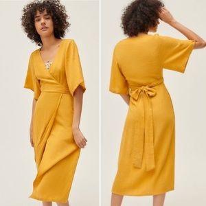 Urban Outfitters Kayla Wrap Midi Dress Yellow Sz S